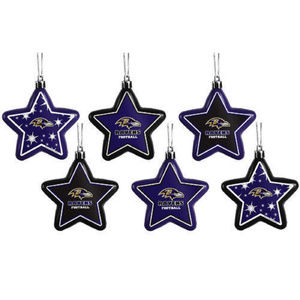 NFL RAVENS Team Logo Holiday Tree Ornament 6 Stars